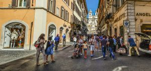 People crossing the street in Rome