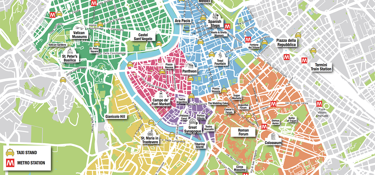 Rome Tourist Map Free Download | Roma Wonder